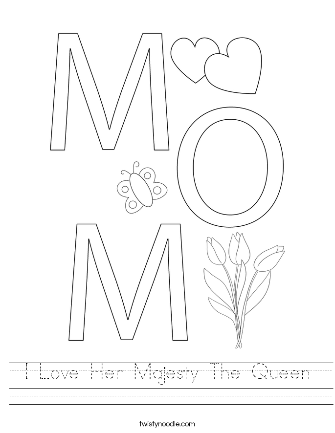 I Love Her Majesty The Queen Worksheet