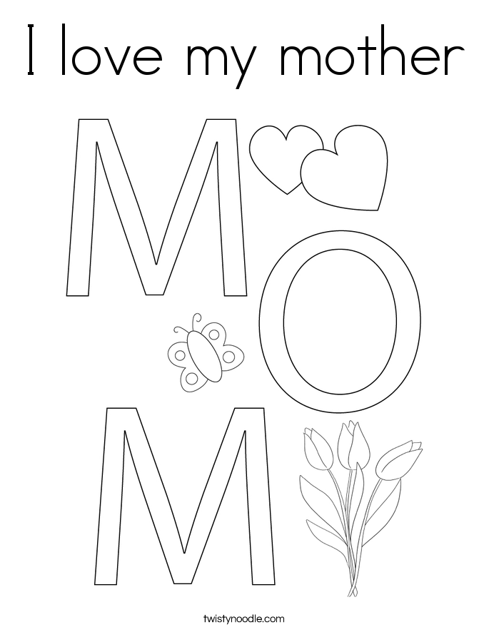 I love my mother Coloring Page