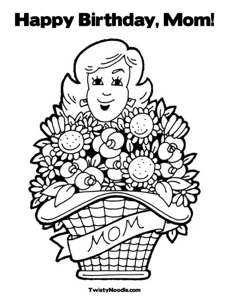mom happy birthday coloring pages - photo#29