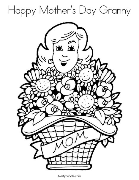 Mom with Flowers Coloring Page