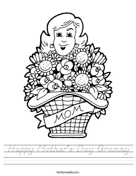 Happy Mother's Day Granny Worksheet - D'Nealian - Twisty ...
