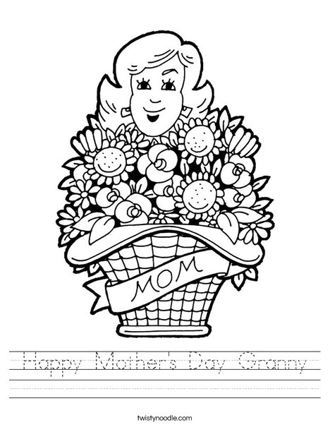 Mom with Flowers Worksheet