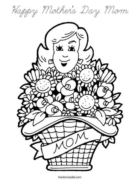 Happy Mother's Day Mom Coloring Page - Cursive - Twisty Noodle
