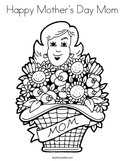 Happy Mother's Day Mom Coloring Page