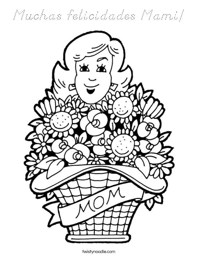 Muchas felicidades Mami! Coloring Page