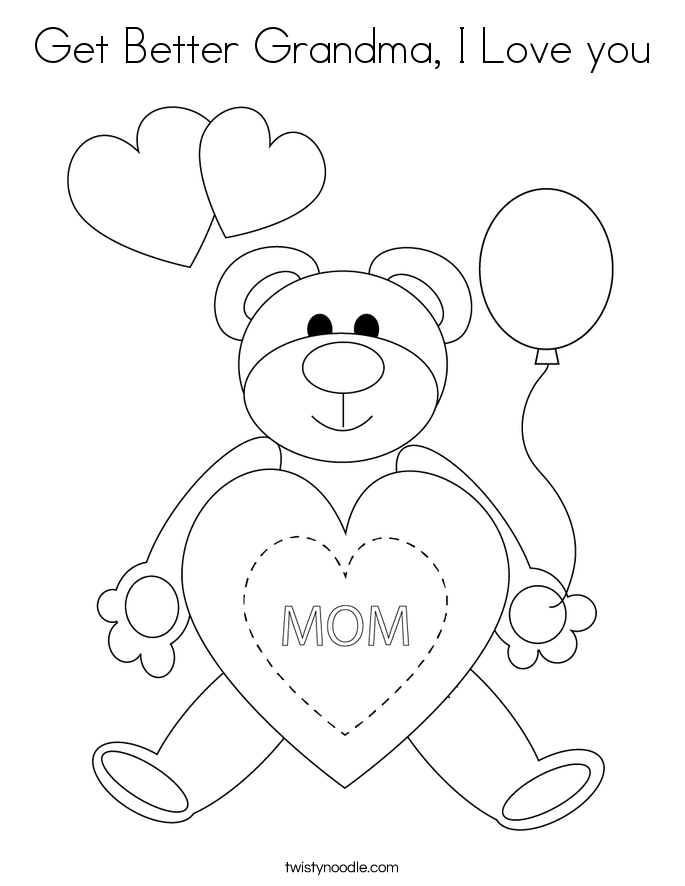 Get Better Grandma, I Love you Coloring Page