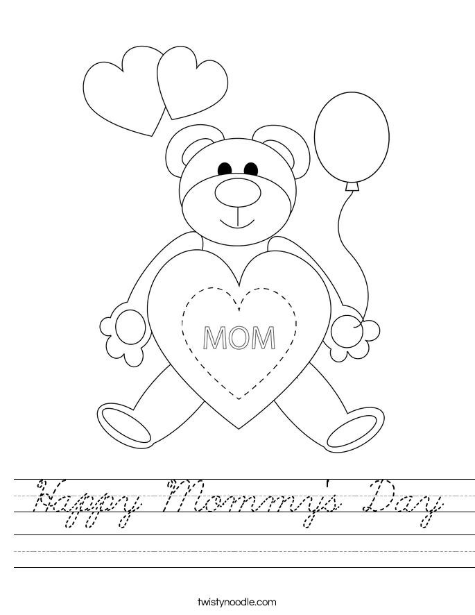 Happy Mommy's Day Worksheet