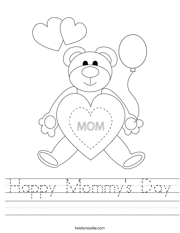 Happy Mommy's Day Worksheet