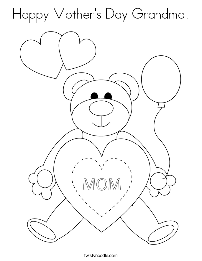 Happy mother 39 s day grandma coloring page twisty noodle for What to get grandma for mother s day