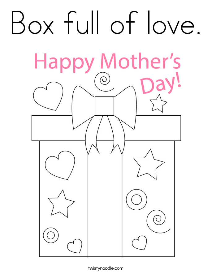 Box full of love. Coloring Page