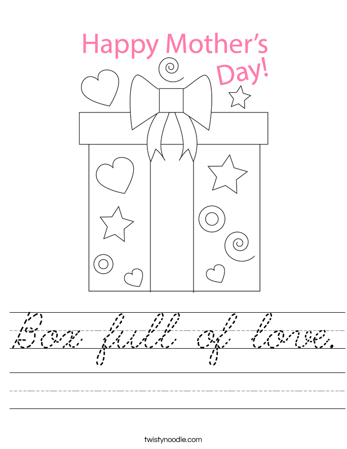 Box full of love. Worksheet