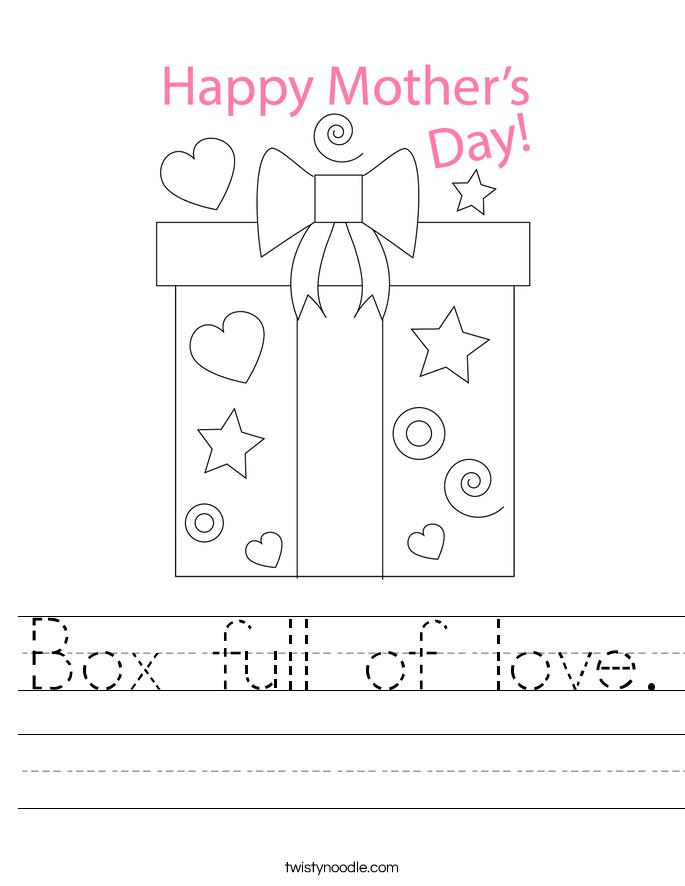 Box full of love. Worksheet