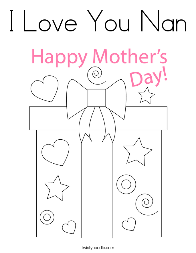 I Love You Nan Coloring Page