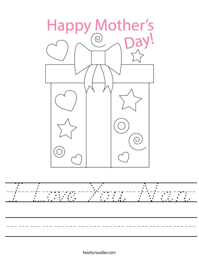 I Love You Nan Worksheet