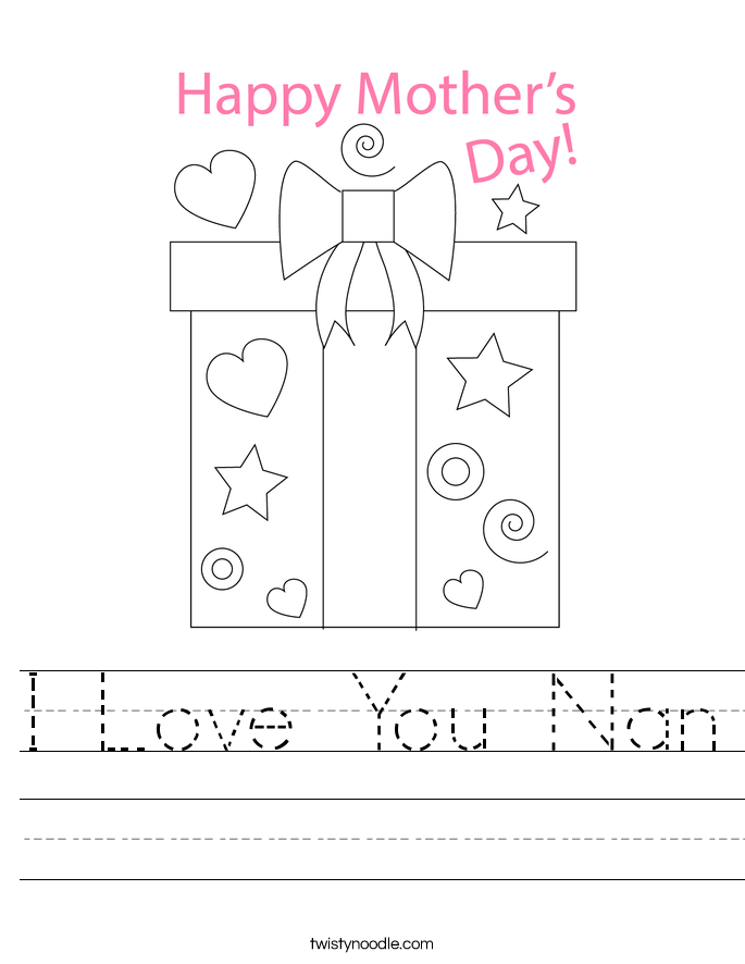 I Love You Nan Worksheet