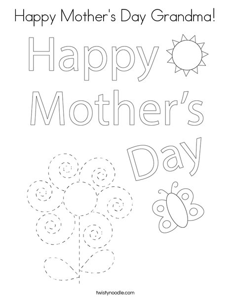 Happy Mothers Day Bear Coloring Page
