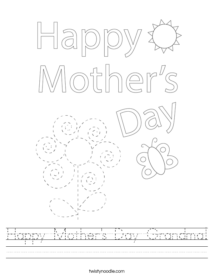 Mother S Day Coloring Worksheet : Happy mother s day grandma worksheet twisty noodle