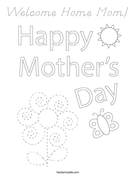 Happy Mother's Day Bear Coloring Page