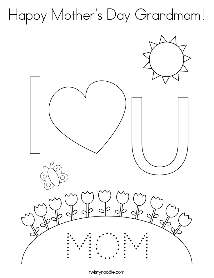 Happy Mother's Day Grandmom! Coloring Page