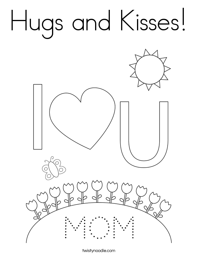 Hugs and Kisses! Coloring Page