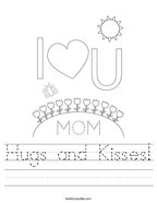 Hugs and Kisses Handwriting Sheet