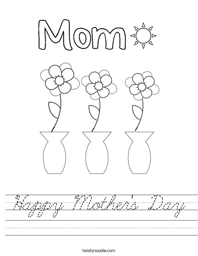 happy mother 39 s day worksheet cursive twisty noodle. Black Bedroom Furniture Sets. Home Design Ideas