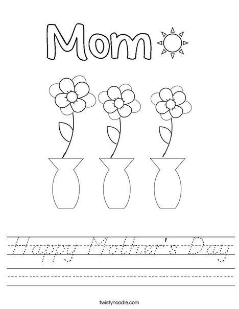 Happy Mother's Day flowers Worksheet
