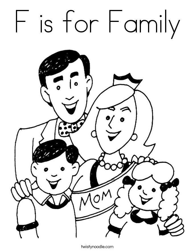 F is for Family Coloring Page Twisty Noodle