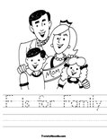 F is for Family Worksheet