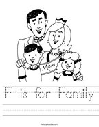 F is for Family Handwriting Sheet