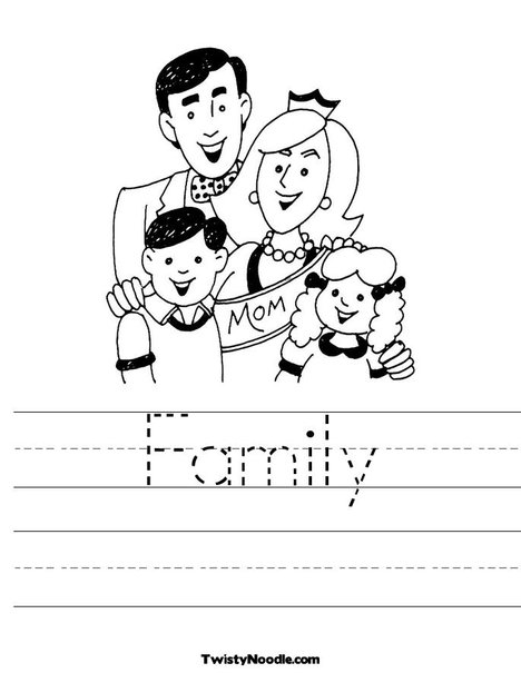 family theme preschool coloring pages - photo#14