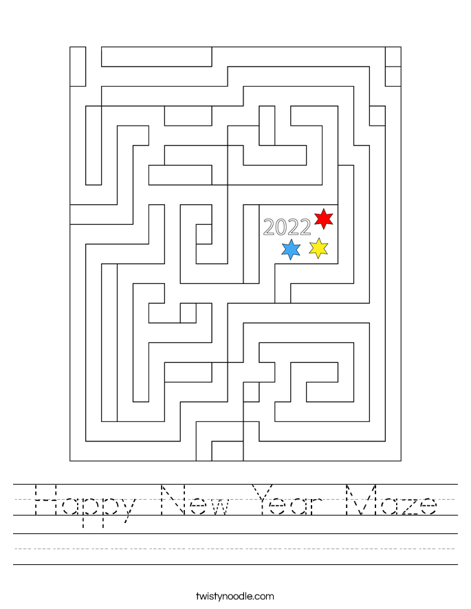 Happy New Year Maze Worksheet