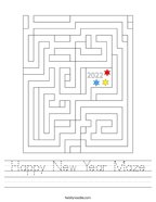 Happy New Year Maze Handwriting Sheet