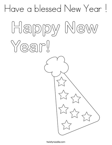 Have a blessed New Year Coloring Page - Twisty Noodle