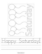 Happy Saturday Handwriting Sheet