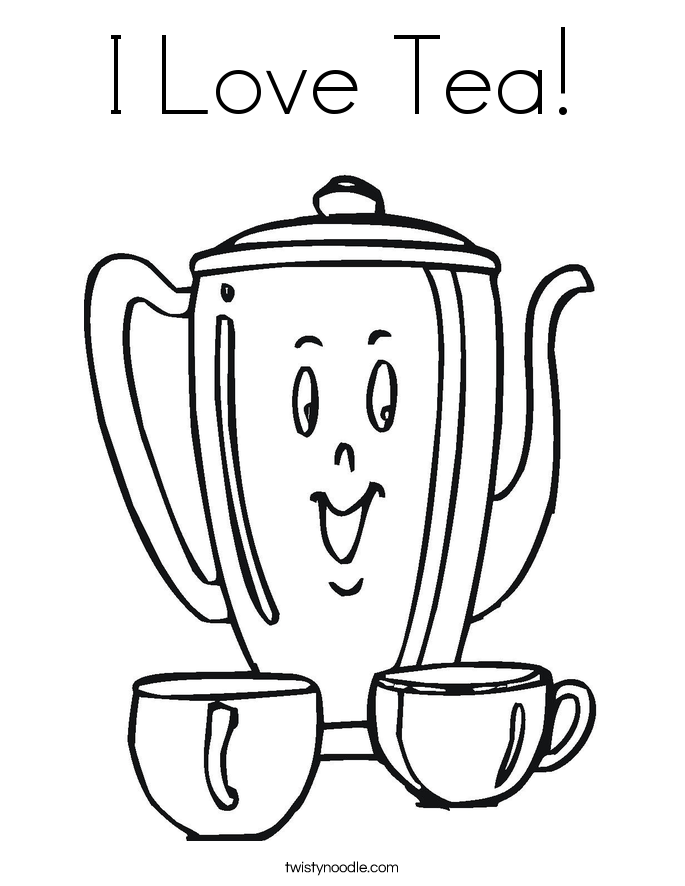 I Love Tea! Coloring Page