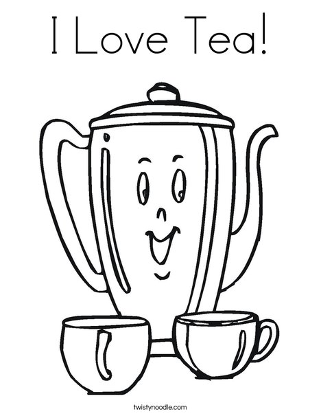 Happy Teapot Coloring Page