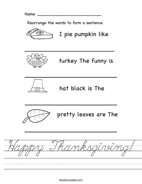 Happy Thanksgiving Worksheet