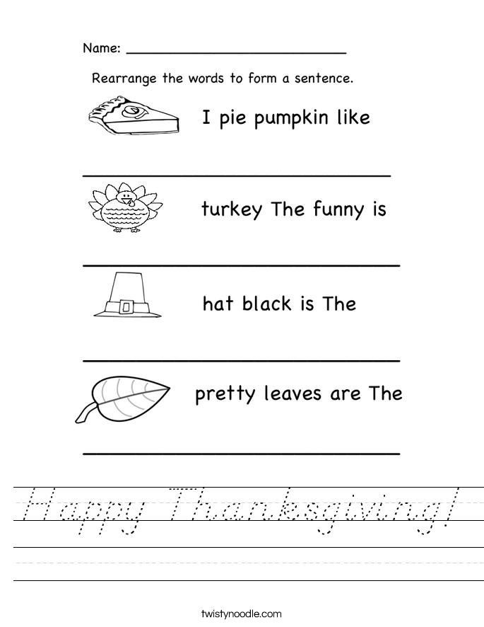 Happy Thanksgiving! Worksheet