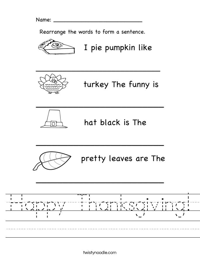 Happy Thanksgiving Worksheet Twisty Noodle – Thanksgiving Worksheets