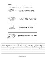 Happy Thanksgiving Handwriting Sheet
