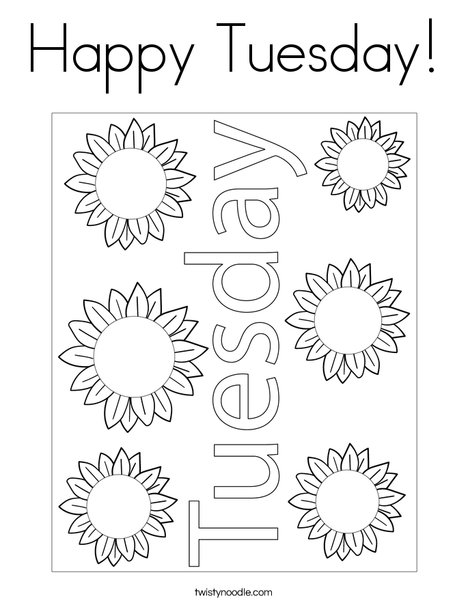 Happy Tuesday! Coloring Page