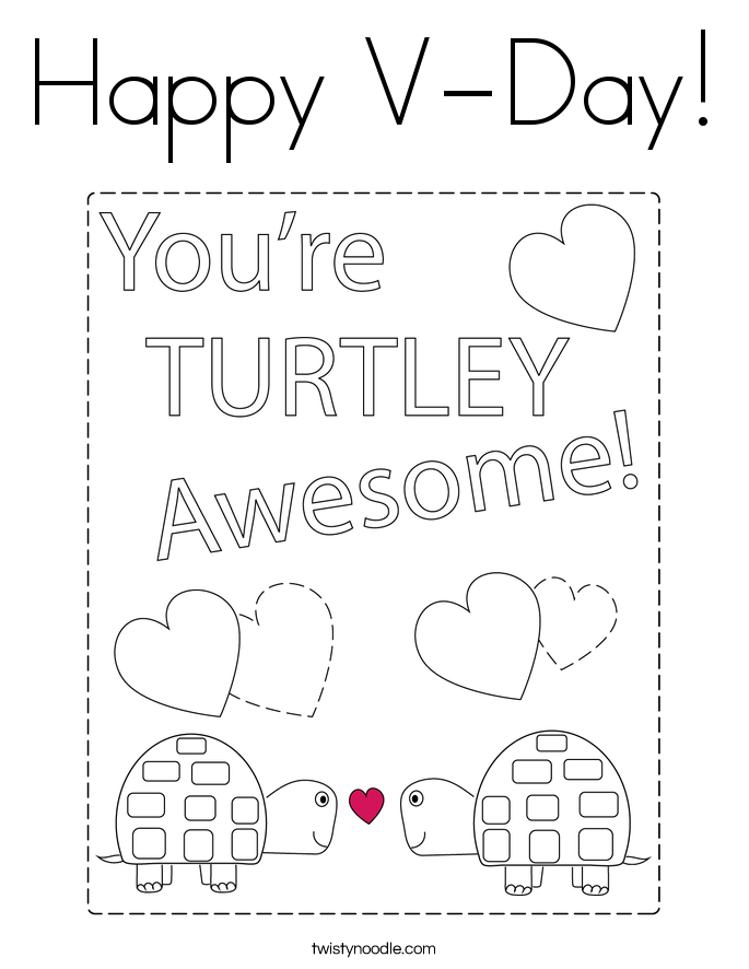 Happy V-Day! Coloring Page