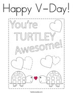 Happy V-Day Coloring Page