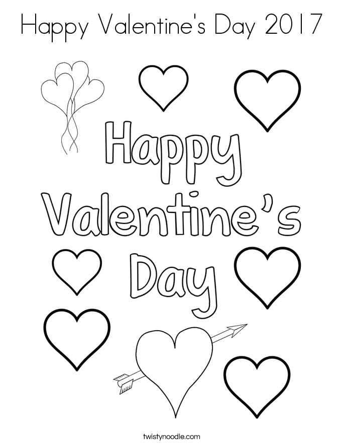 Happy Valentines Day Hearts To Color