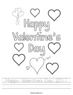 Happy Valentine's Day 2017 Handwriting Sheet