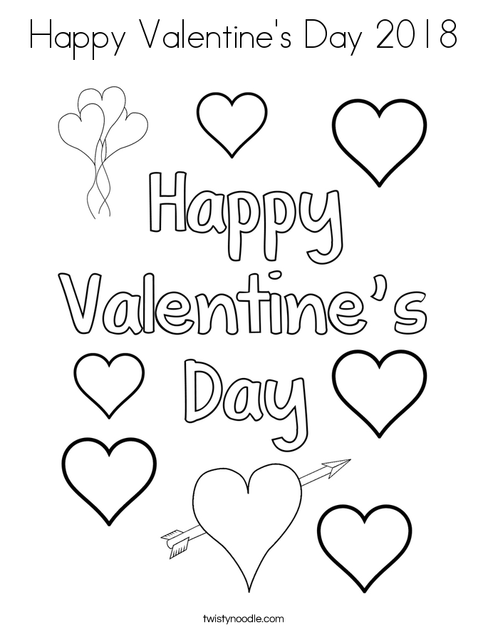 Happy Valentines Day 2018 Coloring Page Twisty Noodle