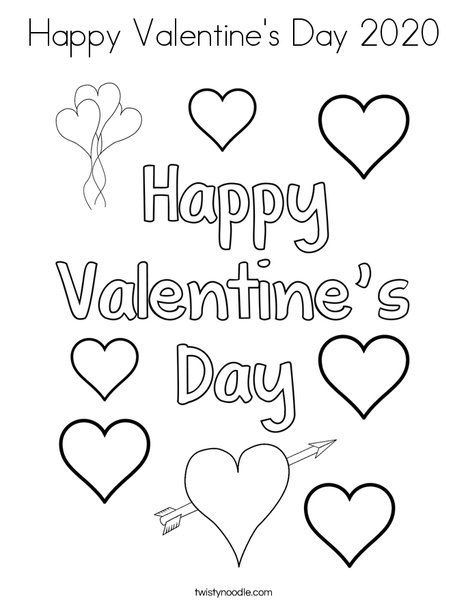 Happy Valentine's Day 2020 Coloring Page - Twisty Noodle