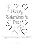 Happy Valentine's Day 2020 Handwriting Sheet