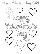 Happy Valentine's Day 2021 Coloring Page